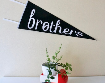 BROTHERS - boys room decor - black and white - wool pennant flag - wool pennant for boys bedroom - black and white - boys wall hanging -