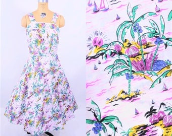 1980s novelty dress | 1950s style rhum monkey print tropical sundress | vintage 80s dress | S/M
