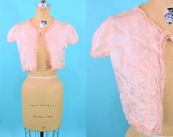 1940s bed jacket | pink satin short bed jacket | vintage 40s lingerie