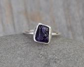 Raw Amethyst Ring In Indigo, February Birthstone, 2.35ct Uncut Raw Amethyst Ring, Rough Amethyst Engagement Ring Handmade In The UK