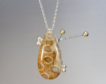 Fossilized Coral Necklace With 18ct Yellow Gold And Sterling Silver, One Of A Kind necklace, Handmade In The UK