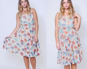 Vintage 70s FLORAL Sun Dress Sheer WATERCOLOR Midi Dress Blouson Dress