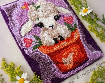 Lamb Baby Sheep Flower Pot Heart Love Garden Spring Punch Needle Embroidery DIGITAL Jpeg PDF PATTERN Michelle Palmer Painting w/Threads