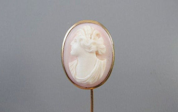 Antique Victorian 14k gold pink shell cameo stick pin / stickpin / lapel pin / tie pin / tie tack / brooch