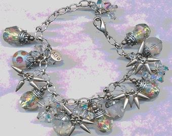 FAB CLUSTER BRACELET Charm Bracelet with Swarovski Beads Hand Made Beads