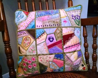 "Crazy Quilt Vintage Style 15"" Square Pillow"