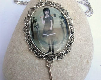 Lizzie Borden Necklace - Art Cameo Necklace - Silver Necklace - Axe Charm Necklace - Spite