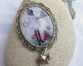 Clown Necklace - Piglet Necklace - Art Cameo Necklace - Silver Necklace - Piglet Charm Necklace - Piglet Parade