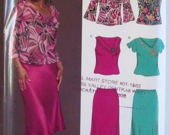 New Look Sewing Pattern 6438, Misses' Flared Hem Skirt, Bias Cut Top with Neckline and Sleeve Variations, High Fashion Career Size 8 - 18