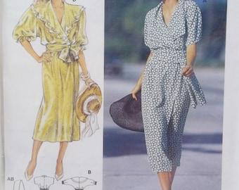 Misses' Dress Burda 5069 Sewing Pattern, Women's Ruffled Collar Dress with Flared Skirt, Wrap Front and Belt, Size 10 - 20 UNCUT Destash