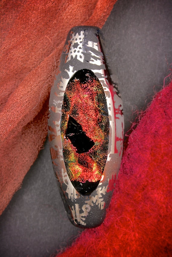 "SRA Lampwork Beads ""Wildfire at Midnight"" Handmade Sandblasted Glass Polished Dichroic Oval Focal Window Bead with Metallic Lustre"