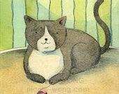 Original Artwork 4x6 Ink Drawing & Watercolor Painting -- Just Cat