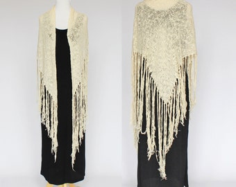 80s Woven Shawl / Loose Woven Wrap / Natural Color / Long Fringe / Handwoven / One Size