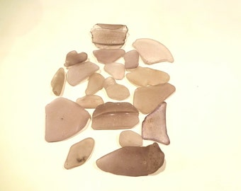 Purple  Sea Glass Pieces Lot Of 19 From Sausalito CA Beach Various Shapes Sizes Including 1 Jar Bottom With Numbers On It 1 Heart Shaped