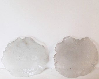 2  X Large Sea Glass Jar Bottoms Clear With Raised Writing Lettering Each 4 Inches Round Ocean Tumbled