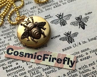 Very Small Brass Bee Locket Necklace Vintage Locket Gold Chain Expertly Handcrafted By Cosmic Firefly Girl's Locket