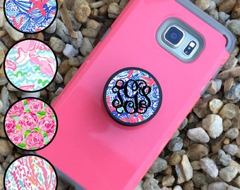 Monogram 2 in 1 Phone Holder Knob & Air Mount for Cellphones  / Lilly Inspired Phone Knob/ Monogram Phone Knob / Ready to Ship