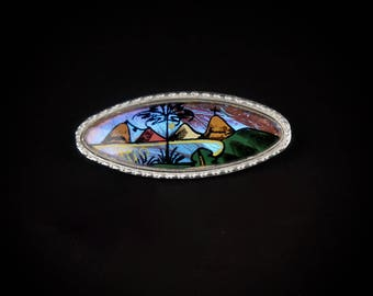 hand painted Morphos Butterfly Wing brooch silver oval pin 1930s 1940s antique art deco vintage jewelry