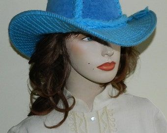 Size 23 60s 70s Bright Blue Cowboy Hat Kit Hat Even Cowgirls Get the Blues