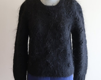 Fuzzy popcorn knit MOHAIR 80s / 90s black sweater sz. Small
