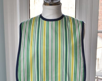 Awning Stripe Reversible Fabric Adult Bib - 3 layers of cotton - smart green stripe with solid navy blue back and absorbent flannel inside