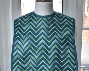 Zig Zag Reversible Fabric Adult Bib - 3 layers of cotton - cool Zig Zag with solid green back and absorbent flannel inside