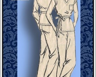 Vintage 1930s-Lounge Pajamas-Sewing Pattern-Two Styles-Deep V Neckline-Wide Leg Pants-Side Tie Belt-Kimono Sleeves-Size 18-Rare