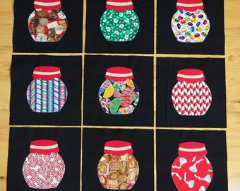 Candy Jar Quilt Blocks, Ready to be sewn into a quilt or wall hanging. Appliqued and Raw Edges Sewn, Perfect for a quick Project