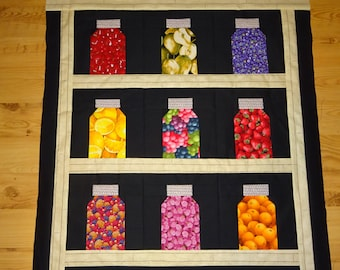 Fruit Jar Quilt Top,  Ready to be quilted, pieced blocks, fruit fabrics, whimsical wall hanging
