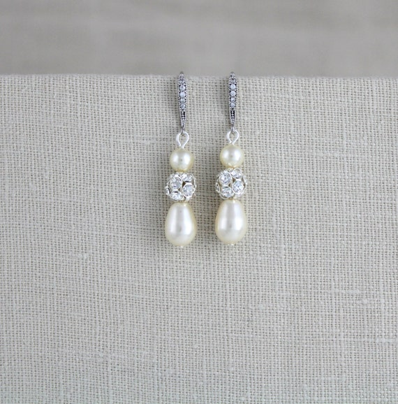 Pearl Wedding earrings, Crystal Bridal earrings, Wedding jewelry, Pearl drop earrings, Bridesmaid earrings Simple earrings Swarovski crystal