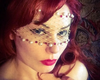 LORELEI Bandeau Mask w/ faux pearls, ruby red Swarovski crystals, and gold net lace / Baroque / Victorian / Masquerade - by Moonshine Baby
