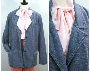 Vintage Blue Blazer, Denim Look Knit Jacket, 70s Donovan Galvani Denim Look Knit Jacket, Womens Light Weight Blazer Size Large