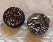 Vintage Black Glass Buttons with Houses - 1 with Gold outlines and 1 with Grey Luster