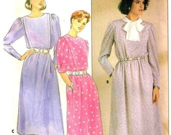 Size 12 Loose Fitting Blouson Tucks Dress High Jewel Neckline Sewing Pattern Bust 34 Butterick 3112 Vintage 1980s Uncut Factory Folded