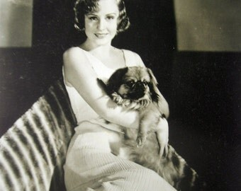 Antique film star photo postcard, Antique actress photo postcard, Actress with dog, Antique Pekingese photo postcard, Art Deco postcard