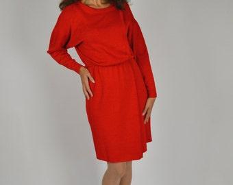 Holiday Dress, Red Sweater Dress, St.John Dress, Red Dress, Knit Dress, Sweater Dress, Designer St John Dress, Christmas Dress,Long Sleeved,