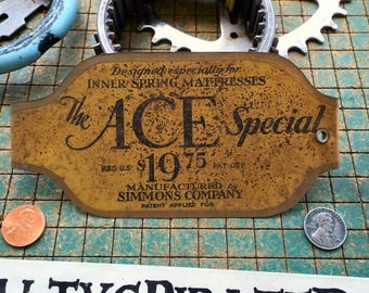 Vintage Simmons ACE box spring name tag, mattress nameplate, The Ace Special, old metal advertising