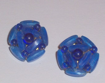Vintage Blue Earrings - Clip Ons