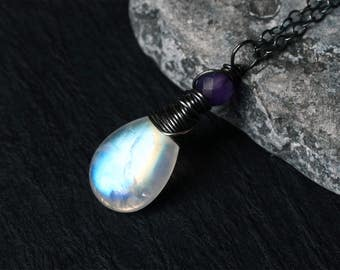 "Rainbow Moonstone Necklace, Amethyst, Oxidized Sterling Silver - ""Violet Moon"" by CircesHouse on Etsy"