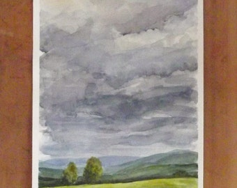 stormy sky country  landscape watercolor painting