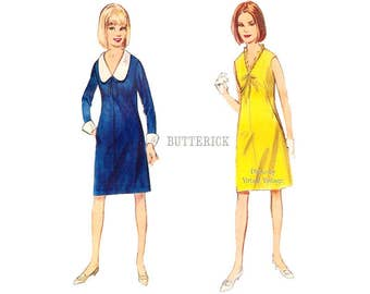 60s V Neck A Line Dress Pattern Butterick 3647 Long Sleeves or Sleeveless Dress with Pockets, Bust 34, Uncut, Easy Sewing