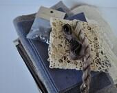Aunt Matilda, 1920s Lace, Mixed Fiber Bundle, Altered Art Supplies,Crazy Quilt Pieces,Folk Art Supplies,Velvet and Wool, Vintage Buttons