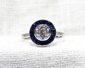Stunning Diamond and Blue Sapphire Halo Ring in 14k Gold 1.34 Carats