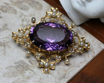 Antique 14k - Amethyst and Seed Pearl Brooch- Late Victorian to Edwardian