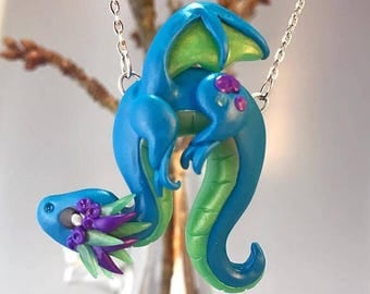 Mystical Blue Baby Dragon Necklace