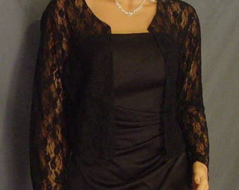 Hip length Lace bolero jacket long sleeve shrug mother of the bride LBA311 AVAILABLE in black and 4 other colors small through plus size!