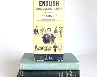 Vintage English Vocabulary Flash Cards Paper Ephemera Homeschool Scrapbooking Upcycle Repurpose Mixed Media Project