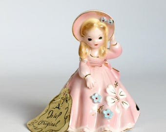Vintage Josef Original Southern Belle Porcelain Bell Figurine Collectible Mothers Day Gift