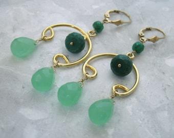 Emerald Chandelier Earrings- Green Chalcedony, Gold Filled