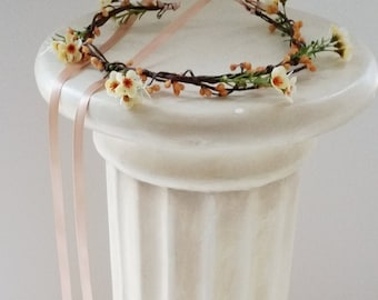 Fall Flower Crown bridal headwreath wedding accessories ivory yellow orange gold boho autumn hair wreath little girl halo blossom circlet